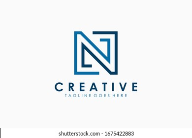 Logo Vector Abstract Initial Letter N Square Line. Flat Vector Logo Design Template Element