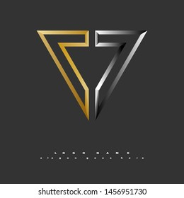 Logo vector abstract symbol gold silver upside down triangle