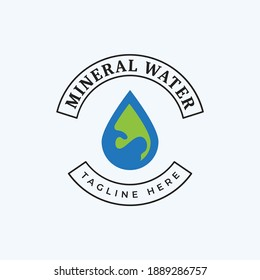 Logo vector design for mineral water business with water drop icon illustration in blue and green colors
