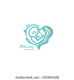 Logo vector emblem of Mother is hugging baby and there is love between them