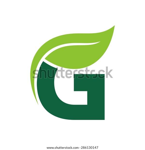 Logo Vector graphic elegant green possible font / symbol / alphabet / Letter G / botanical / natural