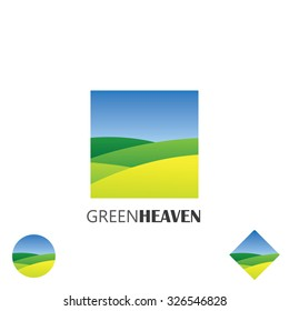 logo vector icon of green farm lands. this graphic also represents nature, green ventures, countryside, fields and gardens, organic farming