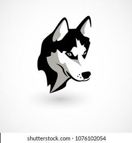 logo vector illustration of Husky isolated on white.