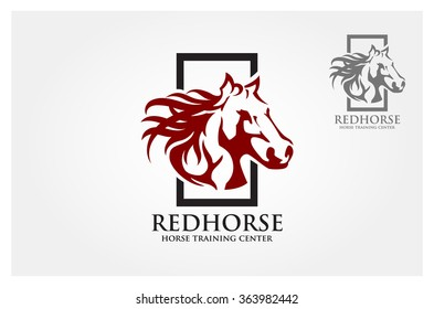 Logo vector images of red horse design on a white background