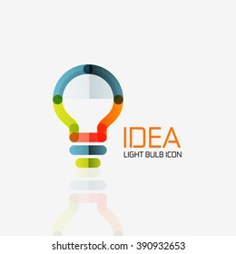 Logo, vector light bulb abstract linear geometric business icon. Fresh modern idea concept