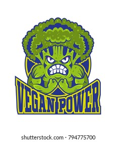 Logo vegan power strong cartoon muscular broccoli. Sport logo isolated white background. Healthy life vector modern style vegetable illustration cartoon character isolated white background gym concept