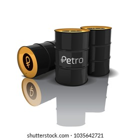 Logo of the Venezuelan cryptocurrency of Petro. Oil barrels of petro isolated on white background. Vector illustration.
