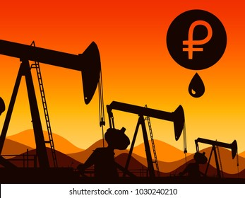 Logo of the Venezuelan cryptocurrency of Petro. On the background of oil rigs. Vector illustration.