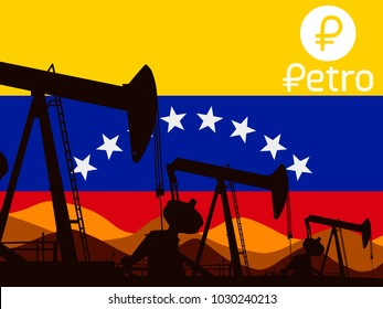 Logo of the Venezuelan cryptocurrency of Petro. On the background of the flag of Venezuela. Vector illustration.