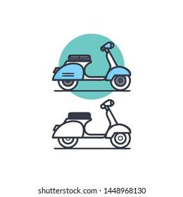 logo vespa scooter vintage cute simple vector