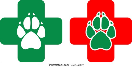 Logo for veterinary clinic in the vector. White and green animal paws print on a red and green cross