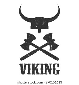 logo viking, helmet and axes