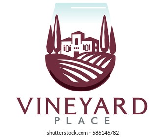 Logo of a villa on a vineyard in a wine glass.