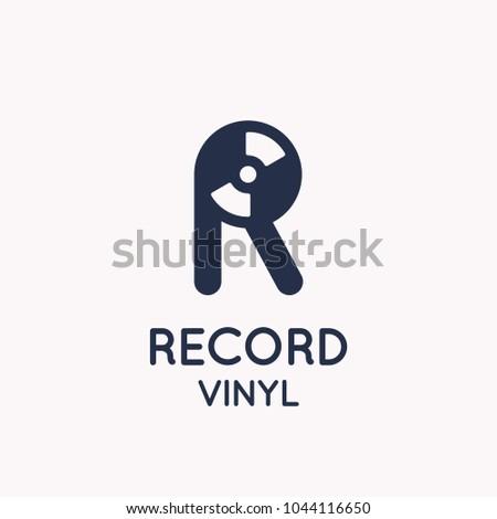 1dd3ade3ef59 Logo of the Vinyl record. Letter R. Vector illustration music on white  background.
