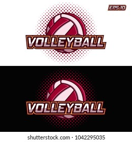 logo of a volleyball with the image of colored ball on the black and white background