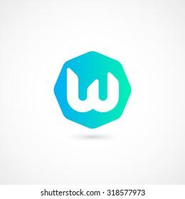 Logo W letter. Isolated on white background. Vector illustration, eps 10.