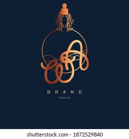 logo wa, aw. perfume bottle logo and lettering inspiration. copper colored logo