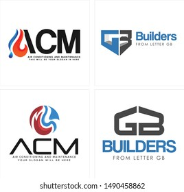 The logo with water fire and letter GB home illustration vector suitable for construction builders business company