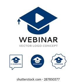 Logo of webinar. The sign includes graduation cap, play icon and cursor