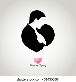 Logo for wedding agency with silhouettes of happy bride and groom