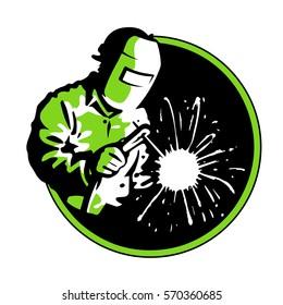 Logo welder green silhouette , vector line graphic