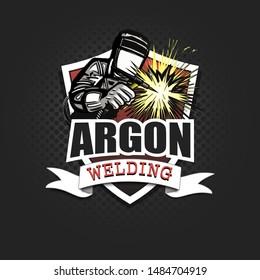 Logo welder in a mask performing argon welding of the metal. Argon welding logo template design. Isolated on black background. Vector illustration