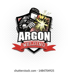 Logo welder in a mask performing argon welding of the metal. Argon welding logo template design. Isolated on white background. Vector illustration