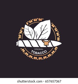 Logo white cigar and leaves tabacco on black background.