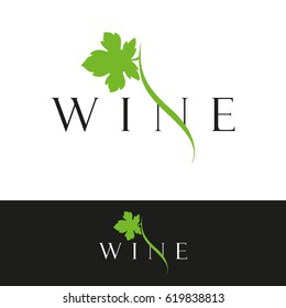 Logo for the wine business. Wine. Grape leaf. Vector stock.