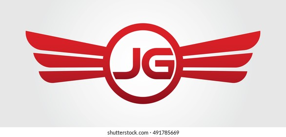 Logo winged JG red letters. Aviation vector template design