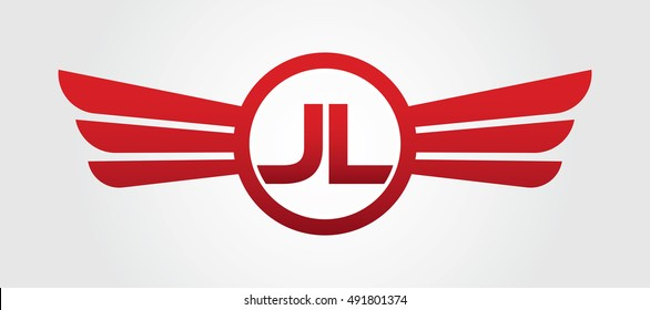 Logo winged JL red letters. Aviation vector template design