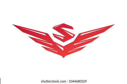 Logo with wings and letter S. Vector flat logo. Sign isolated on white background. Corporate identity. Emblem. Symbol. Stylized object. Gradient.