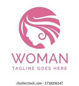 Logo woman head silhouette. Use for beauty salon or cosmetics design. Vector symbols designs idea with women portrait silhouettes. Elegant classy graphics spa, salons and hair studios.