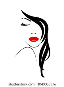 Logo of the Woman with long hair. Vector