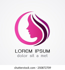 Logo woman silhouette, head, face logo isolated. Use for beauty salon, spa, cosmetics design, etc