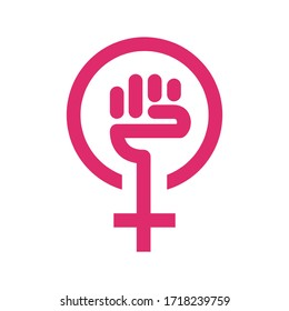 Logo of women's independence. Icon of feminism. Vector illustration for creating your design