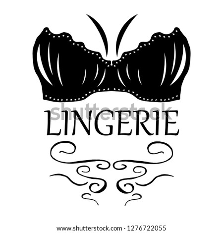 39eb96094 Logo of women s underwear. Icon for lingerie store. Black and white vector  image of