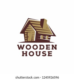 Logo wooden house on white background