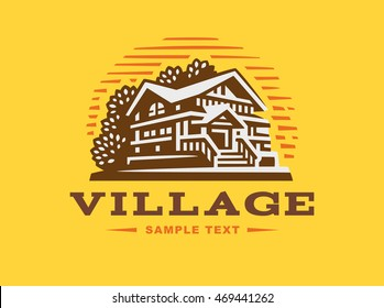 Logo wooden house on yellow background