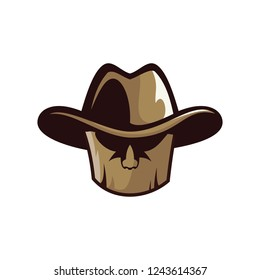 logo of a wooden mask with a hat