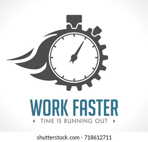 Logo - work faster - employer issue concept