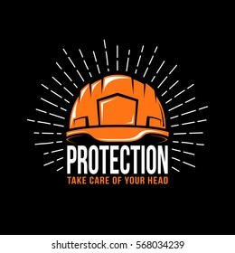 Logo with a working helmet, sunburst and the word protection on a black background. Vector illustration.