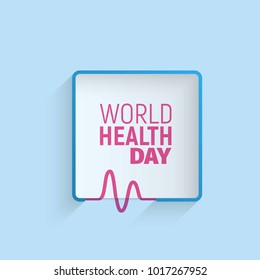 Logo of World health day 7 April. Minimalistic frame with holiday text on blue background