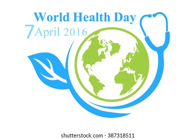 The logo of the World Health Day with the image of a planet
