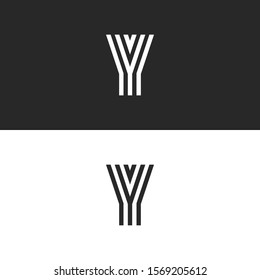 Logo Y letter monogram creative stylish design element, set black and white initial linear emblem