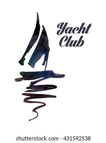 Logo for the yacht club with a picture of a sailing ship in a watercolor style.