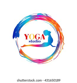 Logo for yoga studio or meditation class. Healthcare, sport, fitness, spa logo design elements. Woman silhouette make asana. Meditation concept.Vector illustration for t-shirt print