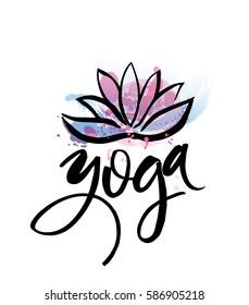 Logo for yoga studio or meditation class. Spa logo design watercolor elements. Meditation concept. Silhouette lotos. Vector illustration for t-shirt print.