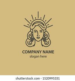 Logo of the young goddess of nature. Wine logo. Vineyard.