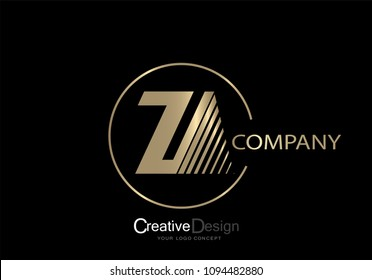 Logo za Letter Design with Gold-colored Fonts and Creative Letters.